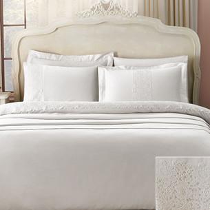Постельное белье Tivolyo Home FORZA хлопковый сатин делюкс кремовый 1,5 спальный