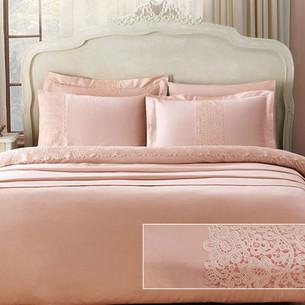 Постельное белье Tivolyo Home FORZA хлопковый сатин делюкс розовый семейный
