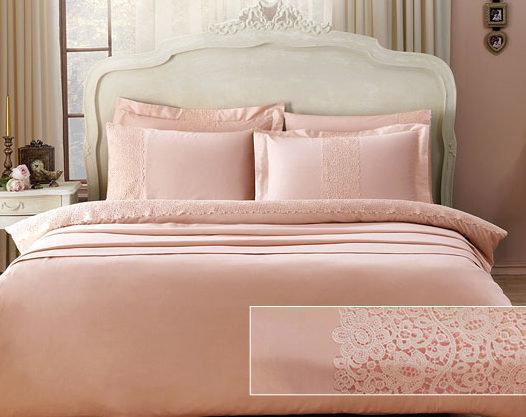 Комплект постельного белья Tivolyo Home FORZA хлопковый сатин делюкс (розовый) семейный, фото, фотография