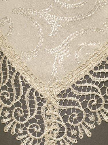 Скатерть прямоугольная с салфетками, кольцами Karna KDK жаккард бежевый 160х220, фото, фотография