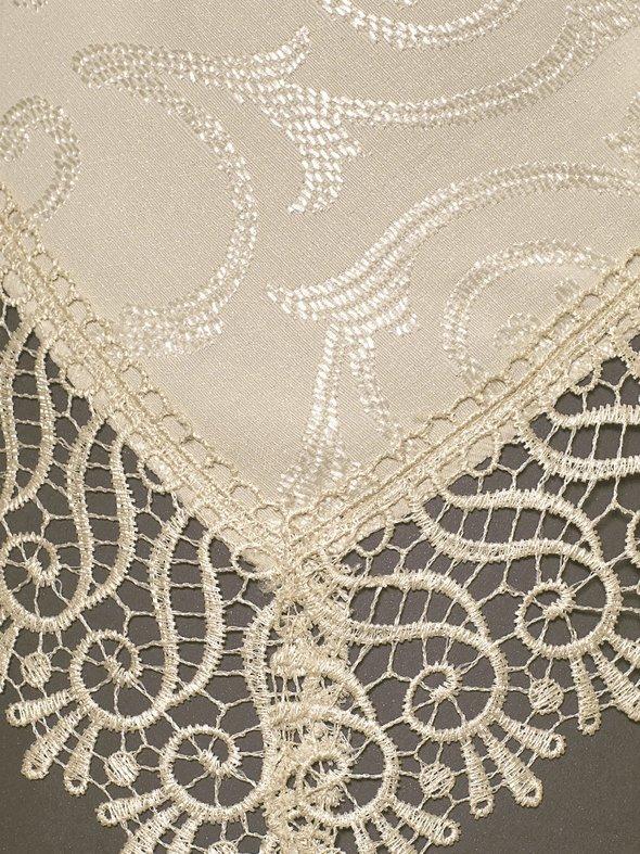 Скатерть прямоугольная с салфетками, кольцами Karna KDK жаккард бежевый 160*220, фото, фотография