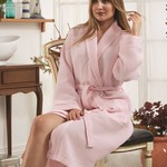 Халат Karna ALERON хлопковая вафля розовый 2XL, фото, фотография