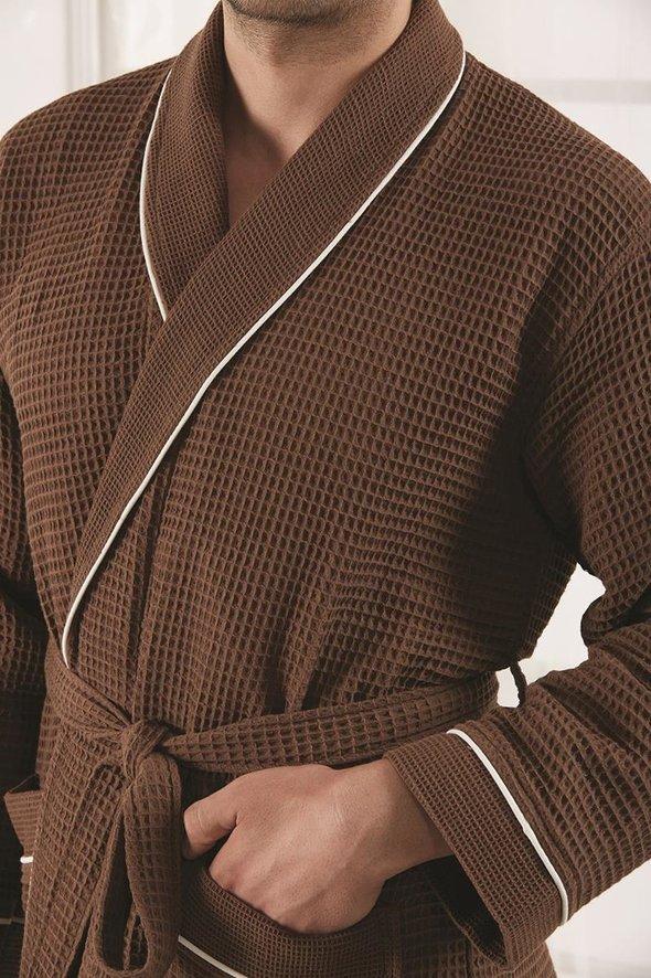 Халат Karna ALERON хлопковая вафля коричневый L, фото, фотография