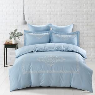 Постельное белье Karna REVENA хлопковый сатин делюкс голубой евро