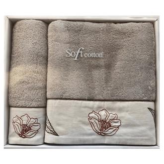 Набор полотенец для ванной 50*100, 75*150 Soft Cotton FLORA хлопковая махра (светло-голубой)