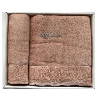 Набор полотенец для ванной 50х100, 75х150 Soft Cotton HAZEL хлопковая махра грязно-розовый