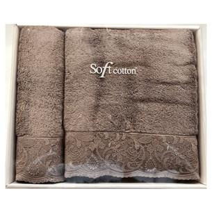 Набор полотенец для ванной 50х100, 75х150 Soft Cotton HAZEL хлопковая махра кофейный