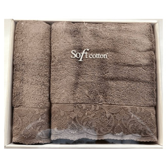 Набор полотенец для ванной 50*100, 75*150 Soft Cotton HAZEL хлопковая махра (кофейный)