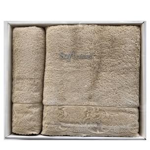 Набор полотенец для ванной 50х100, 75х150 Soft Cotton HAZEL хлопковая махра светло-бежевый