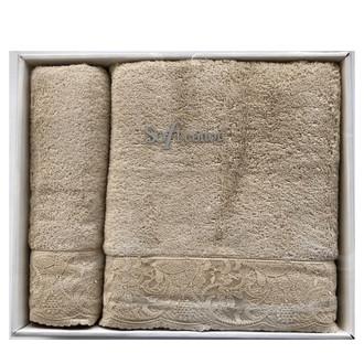 Набор полотенец для ванной 50*100, 75*150 Soft Cotton HAZEL хлопковая махра (светло-бежевый)