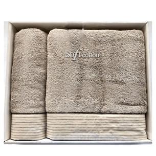 Набор полотенец для ванной 50х100, 75х150 Soft Cotton LINEN хлопковая махра серый