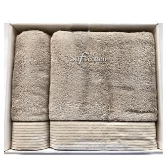 Набор полотенец для ванной 50*100, 75*150 Soft Cotton LINEN хлопковая махра (серый)