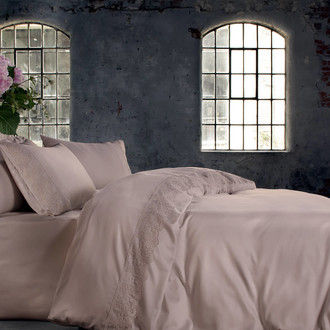 Комплект постельного белья Tivolyo Home FELICIA хлопковый сатин делюкс (розовый)