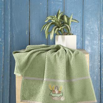 Кухонное полотенце Karna BREAKFAST хлопковая махра (зелёный)