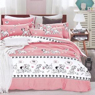 Комплект подросткового постельного белья Karna DELUX DALMATIAN хлопковый сатин розовый 1,5 спальный