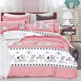 Комплект подросткового постельного белья Karna DELUX DALMATIAN хлопковый сатин розовый