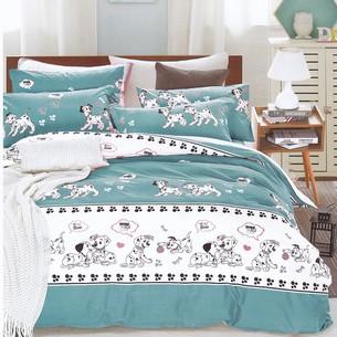 Комплект подросткового постельного белья Karna DELUX DALMATIAN хлопковый сатин голубой 1,5 спальный