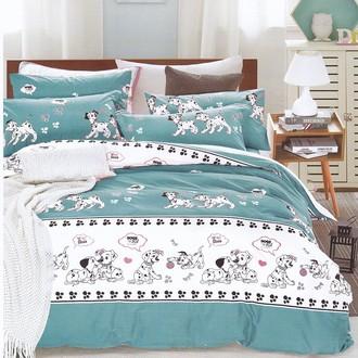 Комплект подросткового постельного белья Karna DELUX DALMATIAN хлопковый сатин голубой