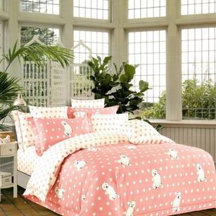 Комплект подросткового постельного белья Karna DELUX CORIN хлопковый сатин розовый 1,5 спальный