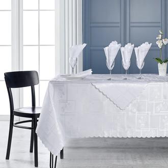 Скатерть прямоугольная с салфетками Karna DERTSIZ жаккард белый