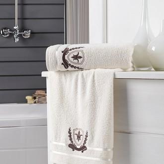 Подарочный набор полотенец для ванной 2 пр. Karna PATARA хлопковая махра кремовый