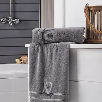 Подарочный набор полотенец для ванной 2 пр. Karna PATARA хлопковая махра (серый)