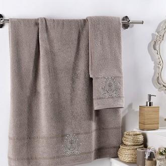 Подарочный набор полотенец для ванной 2 пр. Karna DAVIN хлопковая махра (кофейный)