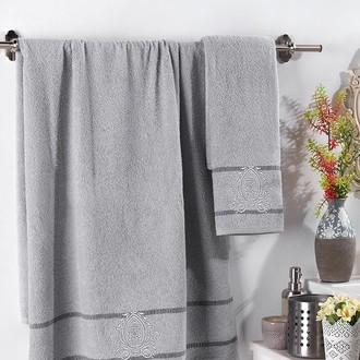 Подарочный набор полотенец для ванной 2 пр. Karna DAVIN хлопковая махра (серый)