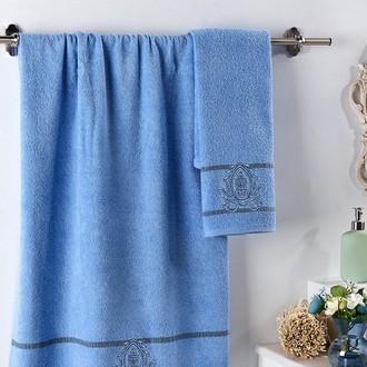 Подарочный набор полотенец для ванной 2 пр. Karna DAVIN хлопковая махра голубой