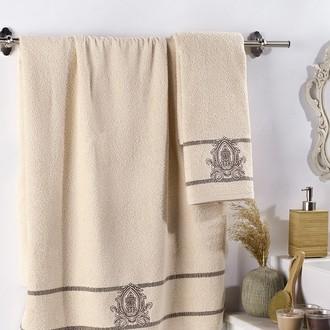 Подарочный набор полотенец для ванной 2 пр. Karna DAVIN хлопковая махра бежевый