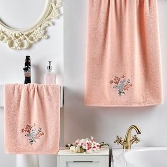 Подарочный набор полотенец для ванной 2 пр. Karna VIOLIN хлопковая махра (абрикосовый)