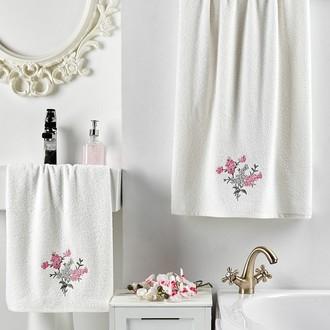 Подарочный набор полотенец для ванной 2 пр. Karna VIOLIN хлопковая махра (кремовый)