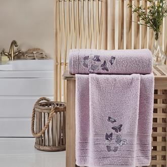 Подарочный набор полотенец для ванной 2 пр. Karna BELINA хлопковая махра сиреневый