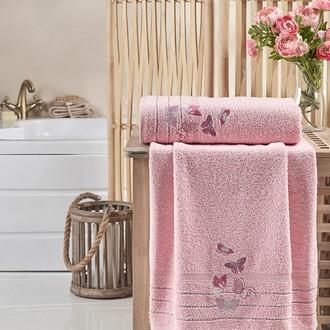 Подарочный набор полотенец для ванной 2 пр. Karna BELINA хлопковая махра пудра