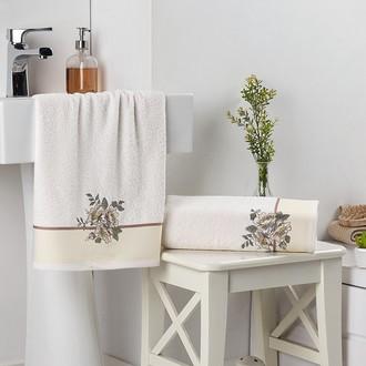 Подарочный набор полотенец для ванной 2 пр. Karna FLORYA хлопковая махра (кремовый)