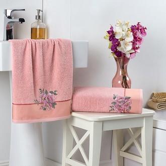 Подарочный набор полотенец для ванной 2 пр. Karna FLORYA хлопковая махра пудра