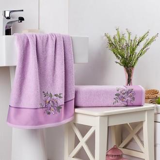 Подарочный набор полотенец для ванной 2 пр. Karna FLORYA хлопковая махра сиреневый