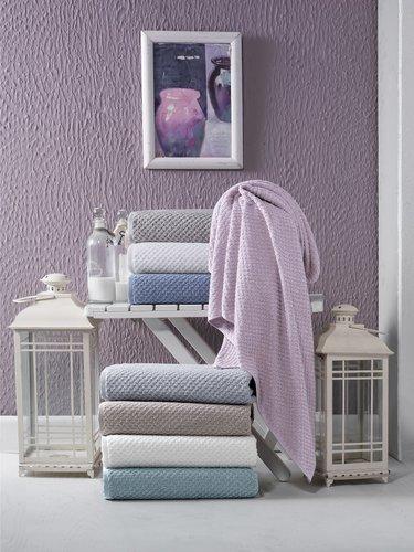 Полотенце для ванной Karna DAMA хлопковая махра кофейный 90х150, фото, фотография