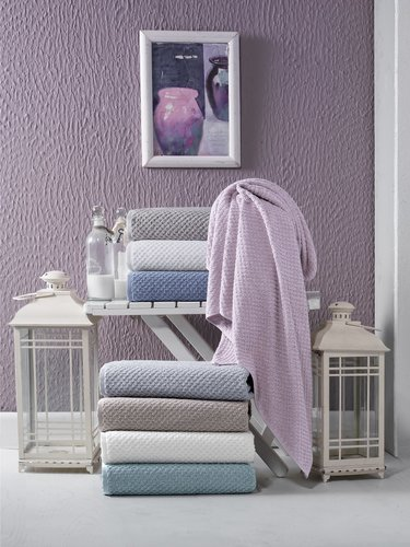 Полотенце для ванной Karna DAMA хлопковая махра пудра 90х150, фото, фотография