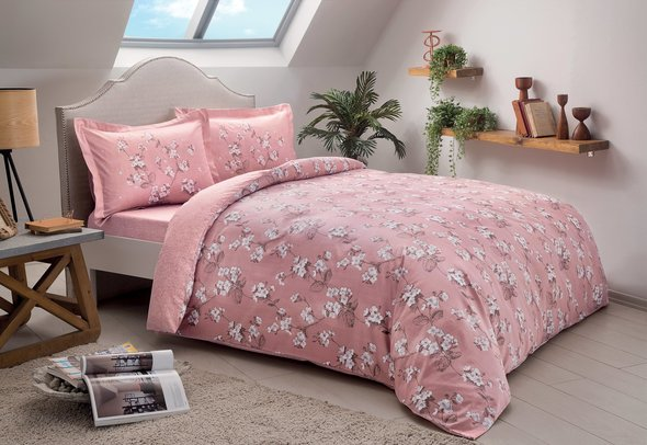 Постельное белье TAC HAPPY DAYS LENNIE хлопковый сатин розовый 1,5 спальный, фото, фотография