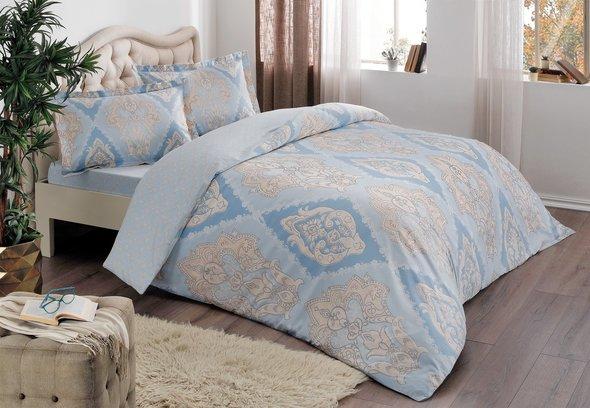 Постельное белье TAC HAPPY DAYS VALES хлопковый сатин голубой 1,5 спальный, фото, фотография