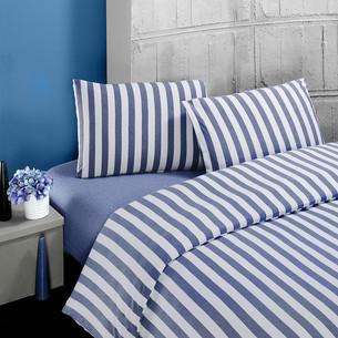 Постельное белье Karna MELAN хлопковый трикотаж голубой 1,5 спальный