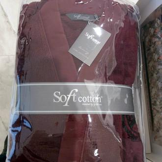 Халат мужской Soft Cotton PALATIN хлопковая махра бордовый