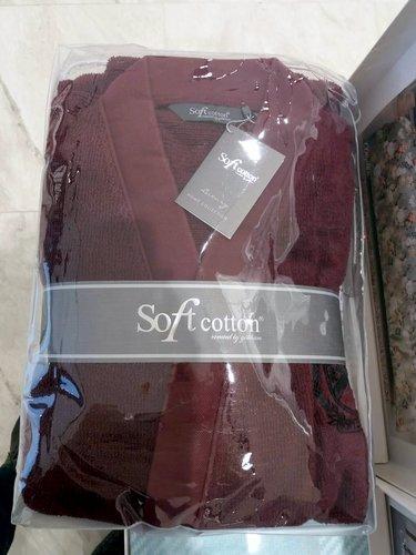 Халат мужской Soft Cotton PALATIN хлопковая махра бордовый M, фото, фотография