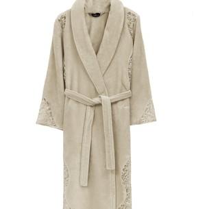 Халат женский Soft Cotton HAZEL хлопковая махра светло-бежевый L