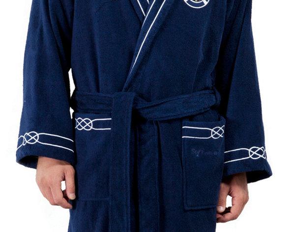 Халат мужской Soft Cotton MARINE хлопковая махра тёмно-синий S, фото, фотография