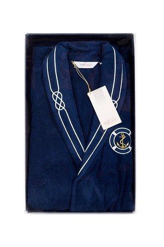 Халат мужской Soft Cotton MARINE хлопковая махра тёмно-синий XL, фото, фотография