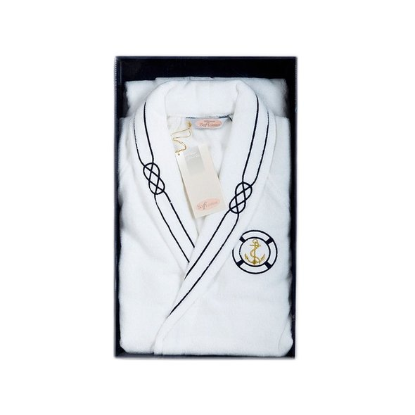 Халат мужской Soft Cotton MARINE хлопковая махра белый S, фото, фотография