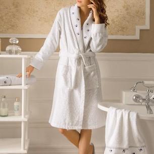 Подарочный набор с халатом Tivolyo Home PICCOLO хлопковая махра лиловый S/M