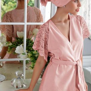 Подарочный набор с халатом Tivolyo Home SANTROPEZ хлопковая махра розовый S/M